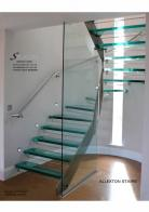Semi Spiral Staircase in Glass and stainless steel