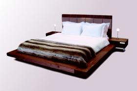 A gorgeous, contemporary floating bed made to a very high spec, with selected 2.5mm American Black Walnut veneered panels, in soft, natural polished-wood style finish.