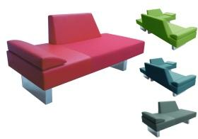 Two purist adjoining but independently aesthetic, minimalist sofas or chaises, float on polished stainless steel rectangular box legs, with a pleasing open perspective from all angles. Perfect for and architectural space.